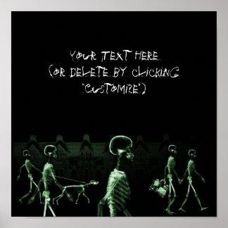 X-Ray Skeletons Midnight Stroll Black Green Poster