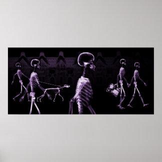 X-Ray Skeletons Midnight Stroll Black Purple Print