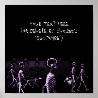 X-Ray Skeletons Midnight Stroll Black Purple Poster