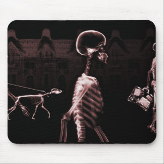 X-Ray Skeletons Midnight Stroll Black Red Mouse Pad