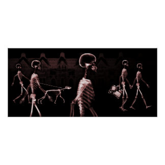X-Ray Skeletons Midnight Stroll Black Red Poster