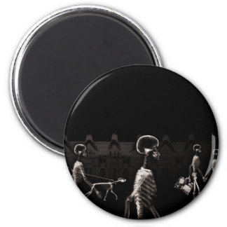 X-Ray Skeletons Midnight Stroll Black Sepia 2 Inch Round Magnet