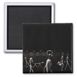 X-Ray Skeletons Midnight Stroll Black Sepia 2 Inch Square Magnet