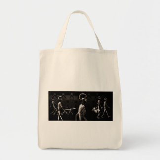 X-Ray Skeletons Midnight Stroll Black Sepia Grocery Tote Bag