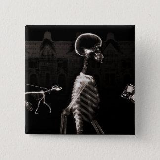 X-Ray Skeletons Midnight Stroll Black Sepia Button