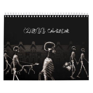 X-Ray Skeletons Midnight Stroll Black Sepia Wall Calendar
