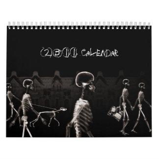X-Ray Skeletons Midnight Stroll Black Sepia Calendar