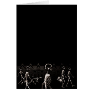 X-Ray Skeletons Midnight Stroll Black Sepia Card