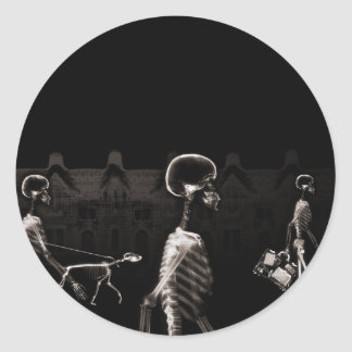 X-Ray Skeletons Midnight Stroll Black Sepia Classic Round Sticker
