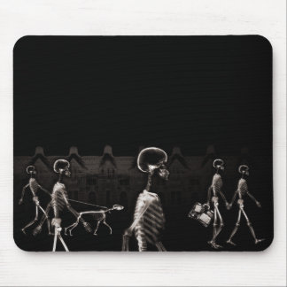 X-Ray Skeletons Midnight Stroll Black Sepia Mousepads