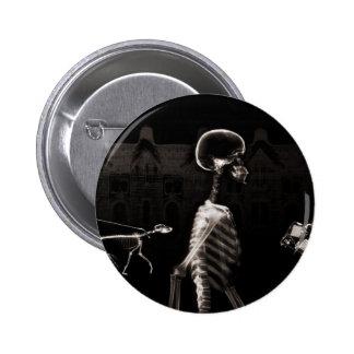 X-Ray Skeletons Midnight Stroll Black Sepia Pinback Button