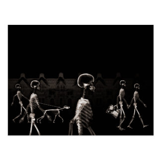 X-Ray Skeletons Midnight Stroll Black Sepia Postcard
