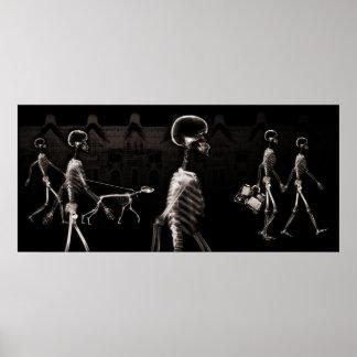 X-Ray Skeletons Midnight Stroll Black Sepia Poster