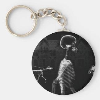 X-Ray Skeletons Midnight Stroll Black White Basic Round Button Keychain
