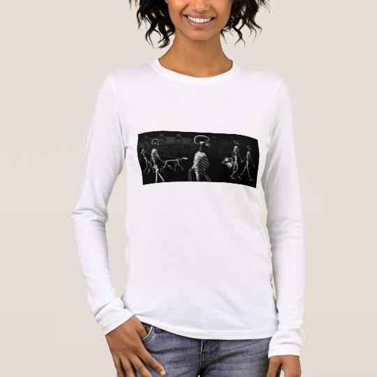 X-Ray Skeletons Midnight Stroll Black White Long Sleeve T-Shirt