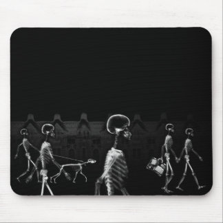 X-Ray Skeletons Midnight Stroll Black White Mouse Pad