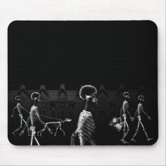 X-Ray Skeletons Midnight Stroll Black White Mousepad