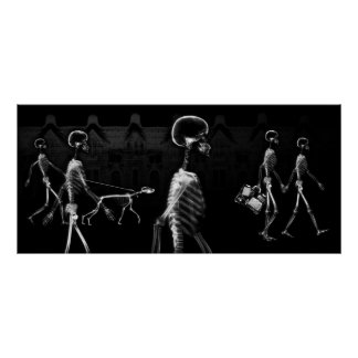 X-Ray Skeletons Midnight Stroll Black & White Poster