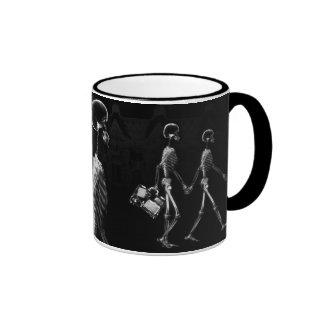 X-Ray Skeletons Midnight Stroll Black White Ringer Mug