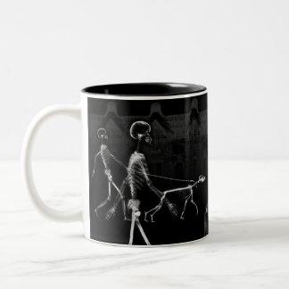 X-Ray Skeletons Midnight Stroll Black White Two-Tone Coffee Mug