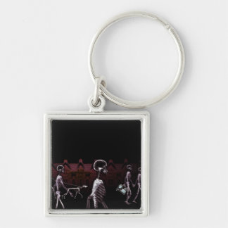 X-Ray Skeletons Midnight Stroll - Original Silver-Colored Square Keychain