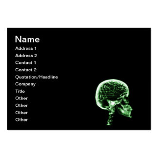 X-RAY SKULL BRAIN - BLACK & GREEN LARGE BUSINESS CARD