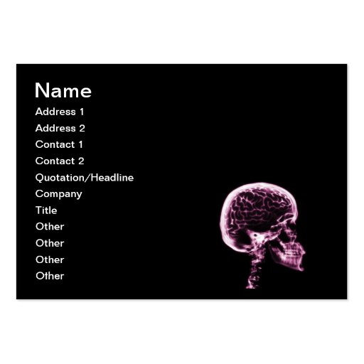 X-RAY SKULL BRAIN - BLACK & PINK LARGE BUSINESS CARDS (Pack OF 100)