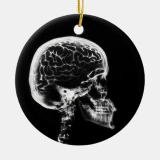 X-RAY SKULL BRAIN - BLACK & WHITE CERAMIC ORNAMENT