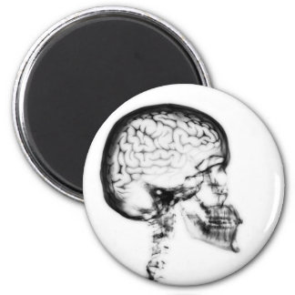 X-RAY SKULL BRAIN - BLACK & WHITE MAGNET