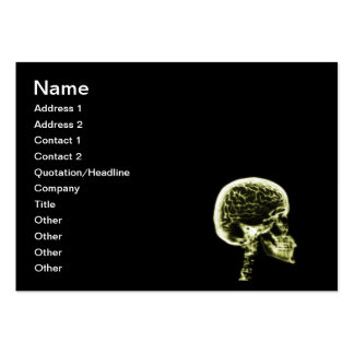X-RAY SKULL BRAIN - BLACK & YELLOW LARGE BUSINESS CARD