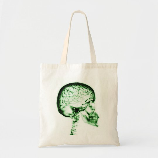 X-RAY SKULL BRAIN - GREEN TOTE BAG