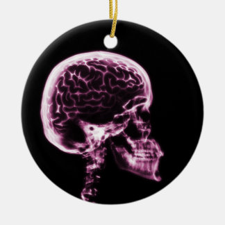 X-RAY SKULL BRAIN - PINK CERAMIC ORNAMENT