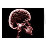 X-RAY SKULL BRAIN - RED GREETING CARD