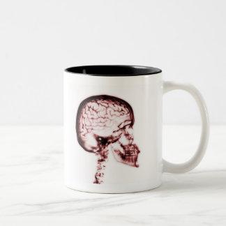X-RAY SKULL BRAIN - RED Two-Tone COFFEE MUG