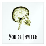 X-RAY SKULL BRAIN - YELLOW PERSONALIZED INVITATIONS