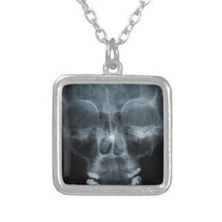 X-ray Skull Square Pendant Necklace