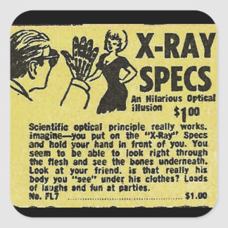 X-Ray Specs! See through clothes (kind of) Square Sticker