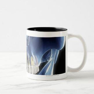 X-ray style look at human teeth Two-Tone coffee mug