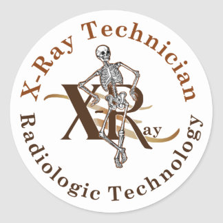 X Ray Technician Circle Brown Classic Round Sticker