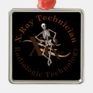 X Ray Technician Circle Brown Metal Ornament