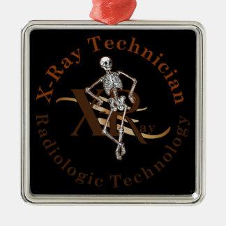 X Ray Technician Circle Brown Metal Ornament