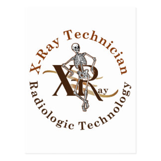 X Ray Technician Circle Brown Postcard