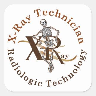 X Ray Technician Circle Brown Square Sticker