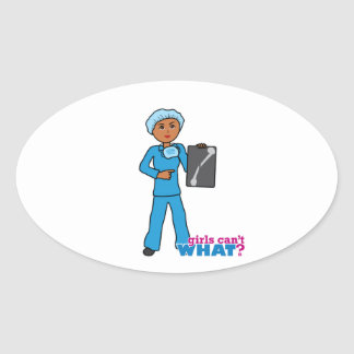 X-Ray Technologist Girl Oval Sticker