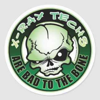 X-Ray Techs: Bad To The Bone Round Sticker