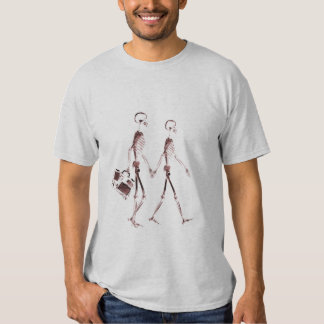 X-Ray Visi Skeleton Couple Traveling - Red Shirt