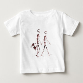 X-Ray Visi Skeleton Couple Traveling - Red T-shirt