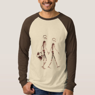 X-Ray Visi Skeleton Couple Traveling - Red T Shirt