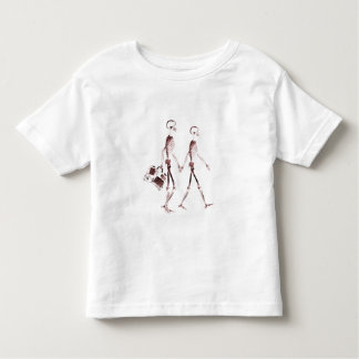 X-Ray Visi Skeleton Couple Traveling - Red Tee Shirt