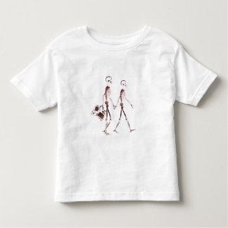 X-Ray Visi Skeleton Couple Traveling - Red Toddler T-shirt